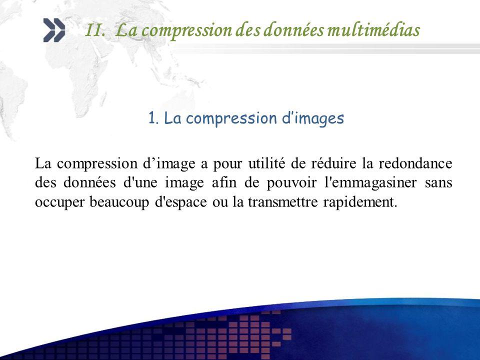 1. La compression dimages La compression dimage a pour utilité de réduire la redondance des données d'une image afin de pouvoir l'emmagasiner sans occ