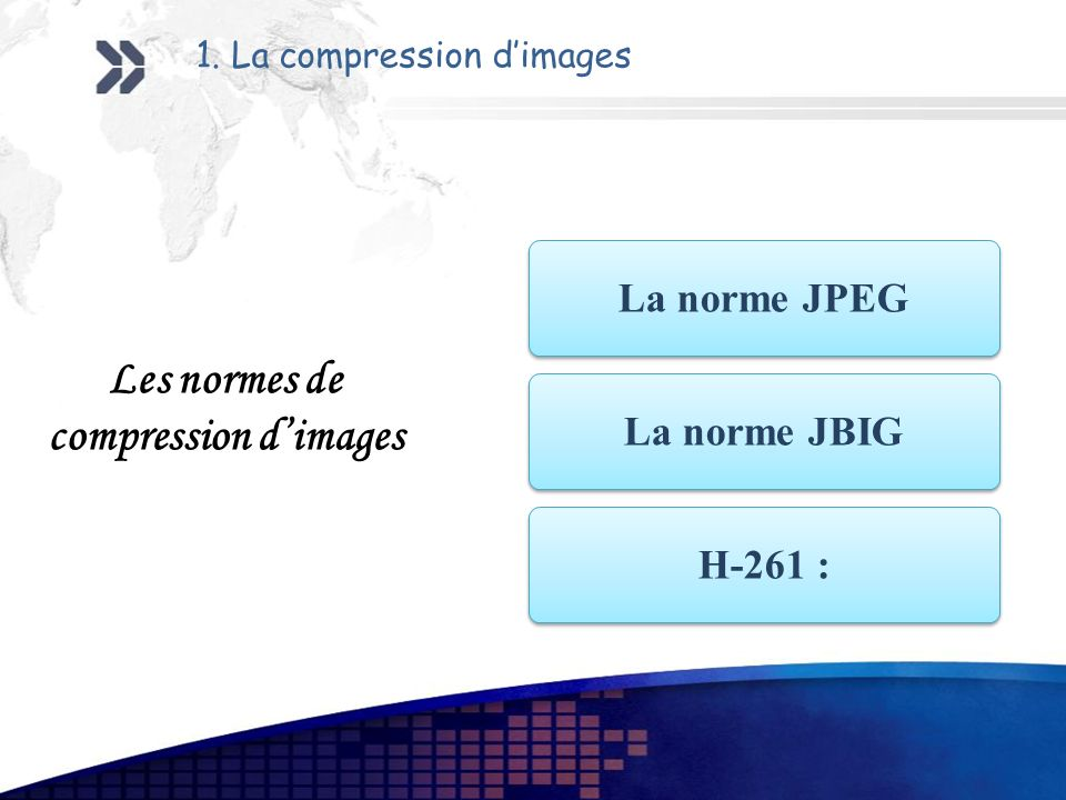1. La compression dimages La norme JPEG La norme JBIG H-261 : Les normes de compression dimages