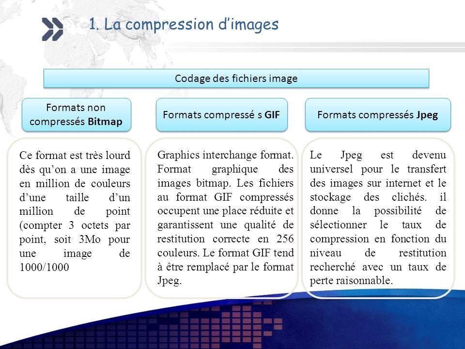 1. La compression dimages Ce format est très lourd dès quon a une image en million de couleurs dune taille dun million de point (compter 3 octets par