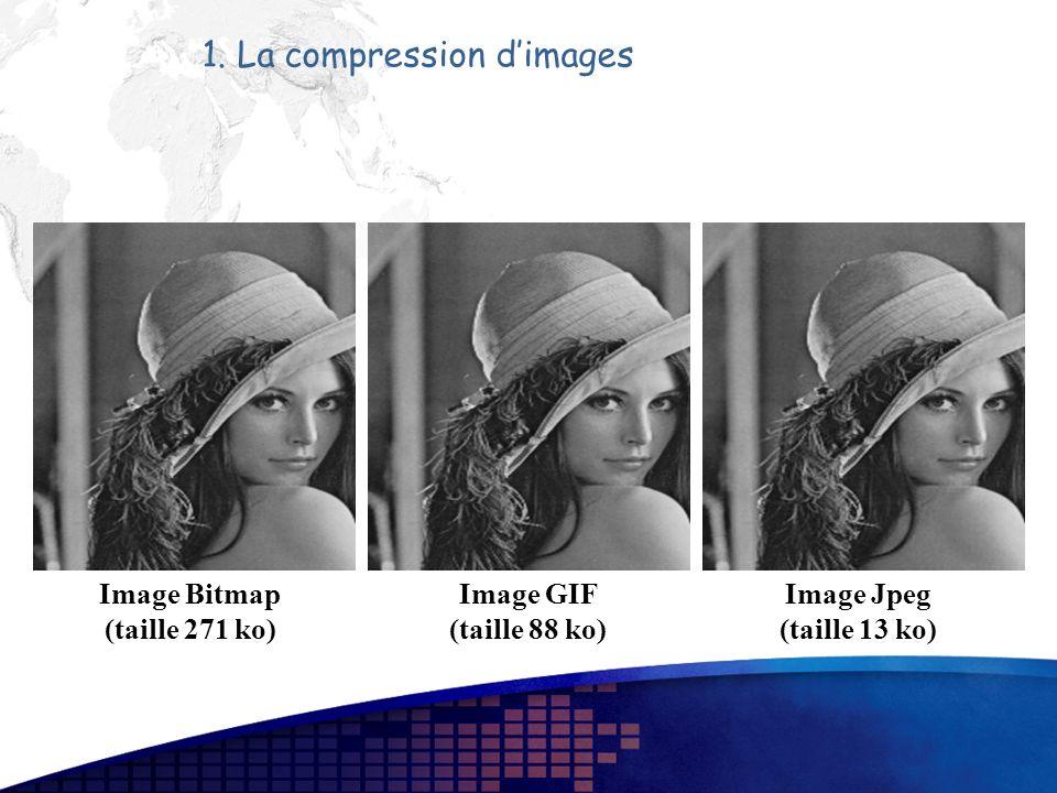 1. La compression dimages Image Bitmap (taille 271 ko) Image GIF (taille 88 ko) Image Jpeg (taille 13 ko)