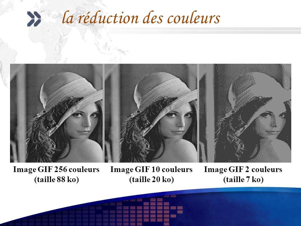 la réduction des couleurs Image GIF 256 couleurs (taille 88 ko) Image GIF 10 couleurs (taille 20 ko) Image GIF 2 couleurs (taille 7 ko)