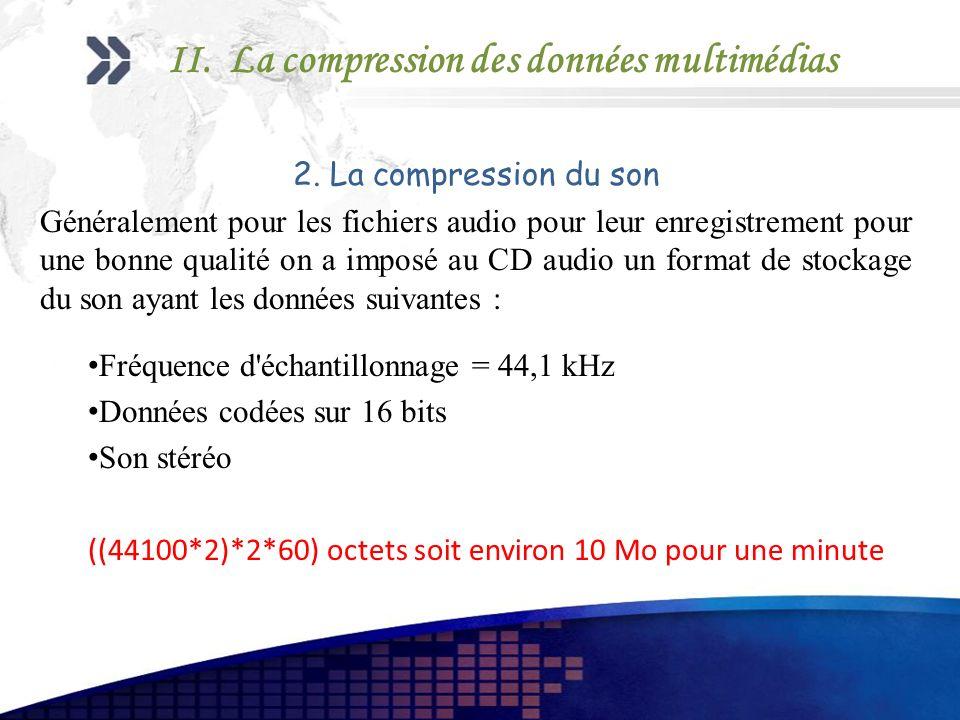 2. La compression du son Généralement pour les fichiers audio pour leur enregistrement pour une bonne qualité on a imposé au CD audio un format de sto
