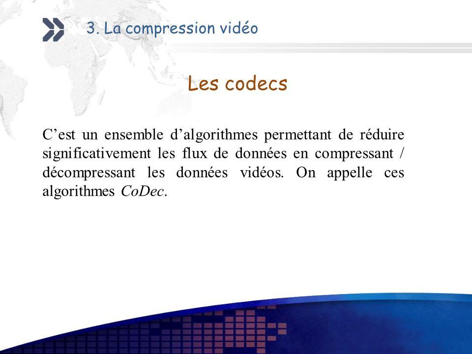Les codecs Cest un ensemble dalgorithmes permettant de réduire significativement les flux de données en compressant / décompressant les données vidéos