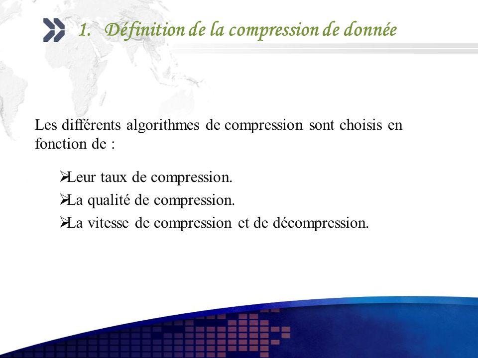 Les différents algorithmes de compression sont choisis en fonction de : Leur taux de compression. La qualité de compression. La vitesse de compression