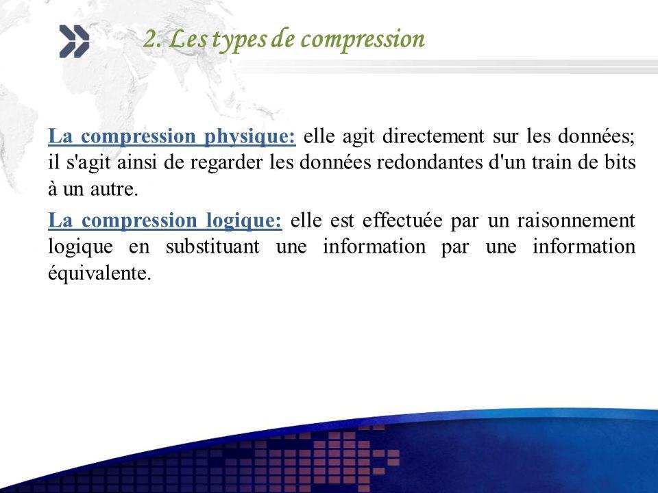 2. Les types de compression La compression physique: elle agit directement sur les données; il s'agit ainsi de regarder les données redondantes d'un t