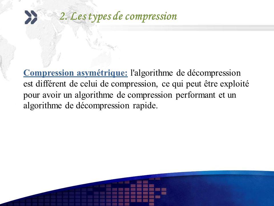 Compression asymétrique: l'algorithme de décompression est différent de celui de compression, ce qui peut être exploité pour avoir un algorithme de co