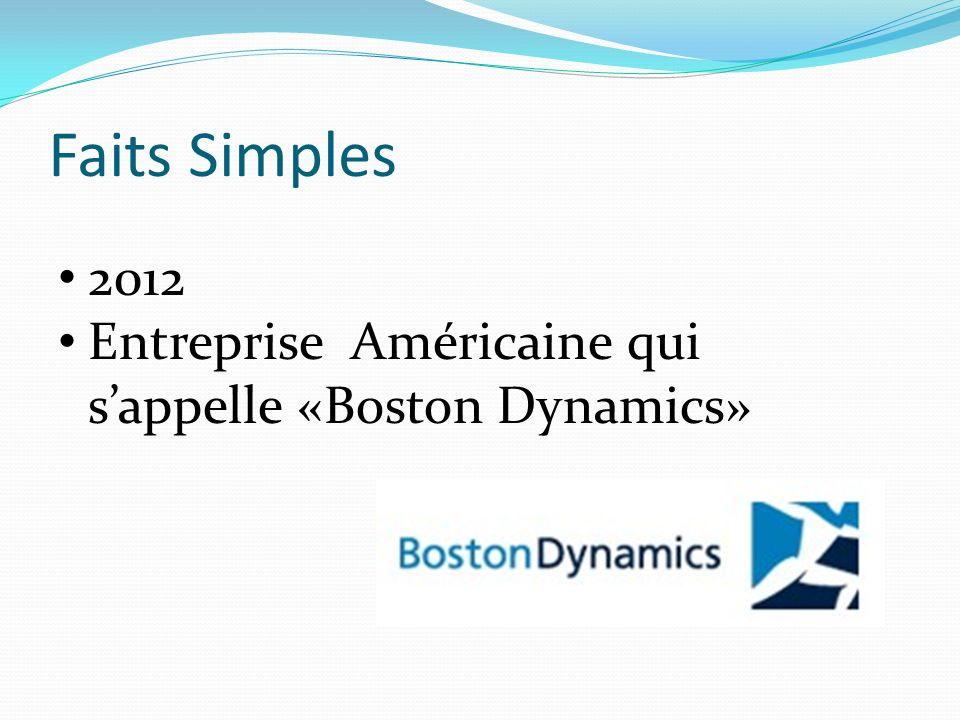 Faits Simples 2012 Entreprise Américaine qui sappelle «Boston Dynamics»