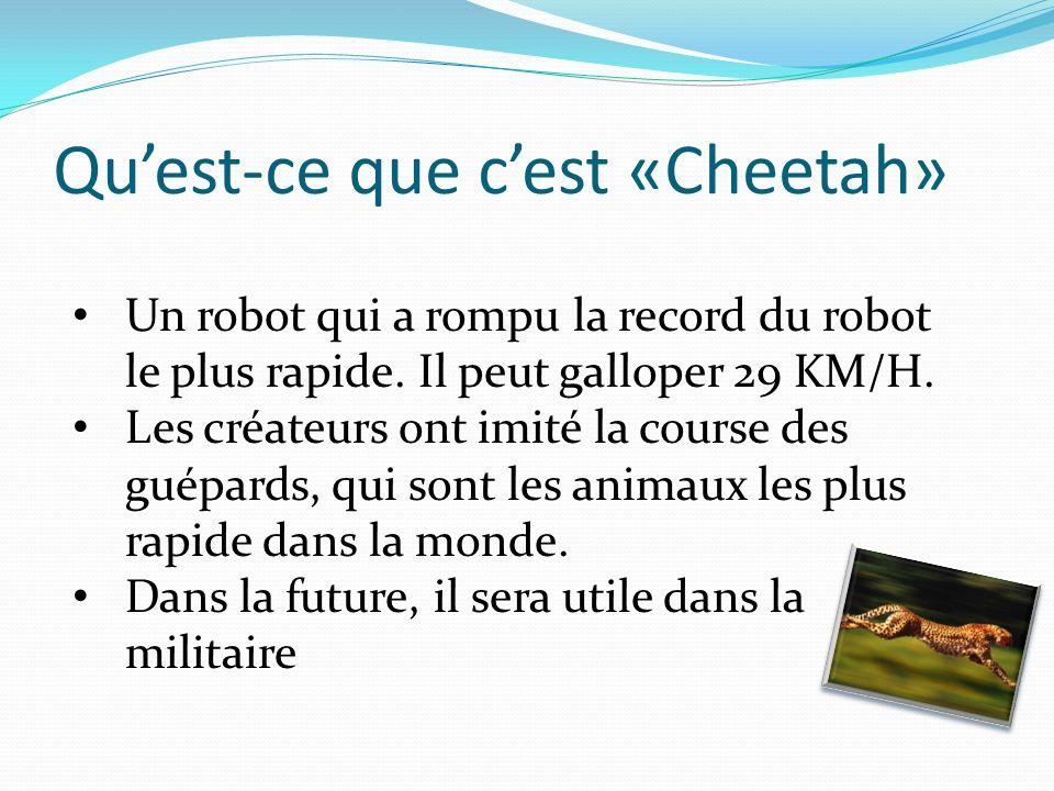 Quest-ce que cest «Cheetah» Un robot qui a rompu la record du robot le plus rapide.
