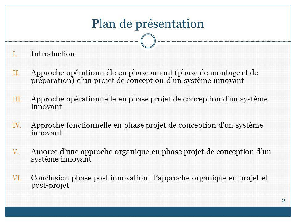Plan de présentation 2 I. Introduction II. Approche opérationnelle en phase amont (phase de montage et de préparation) dun projet de conception dun sy
