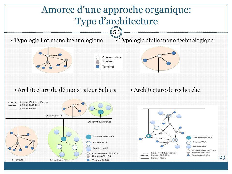 Amorce dune approche organique: Type darchitecture 29 5.3 Typologie ilot mono technologique Typologie étoile mono technologique Architecture du démonstrateur Sahara Architecture de recherche