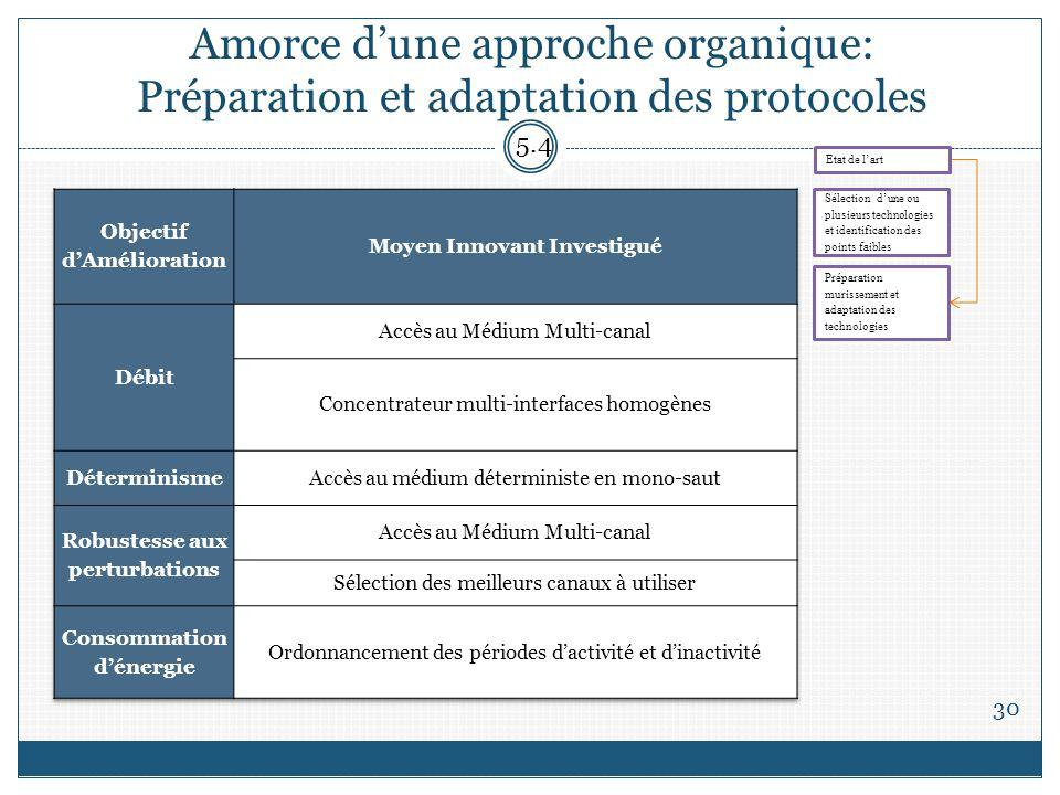 Amorce dune approche organique: Préparation et adaptation des protocoles 30 5.4 Sélection dune ou plusieurs technologies et identification des points faibles Préparation murissement et adaptation des technologies Etat de lart