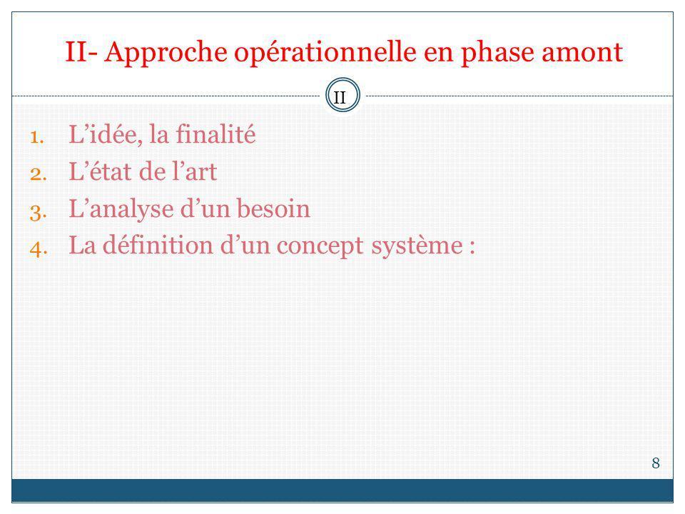 II- Approche opérationnelle en phase amont 8 1. Lidée, la finalité 2. Létat de lart 3. Lanalyse dun besoin 4. La définition dun concept système : II