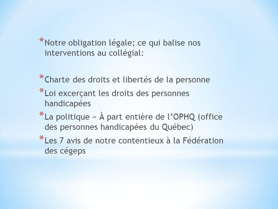 * Nos principaux partenaires qui aident à la « gestion » de ces balises: * OPHQ * CDPDJ * Contentieux de la Fédération des Cégeps * Organismes qui protègent les droits des personnes handicapées
