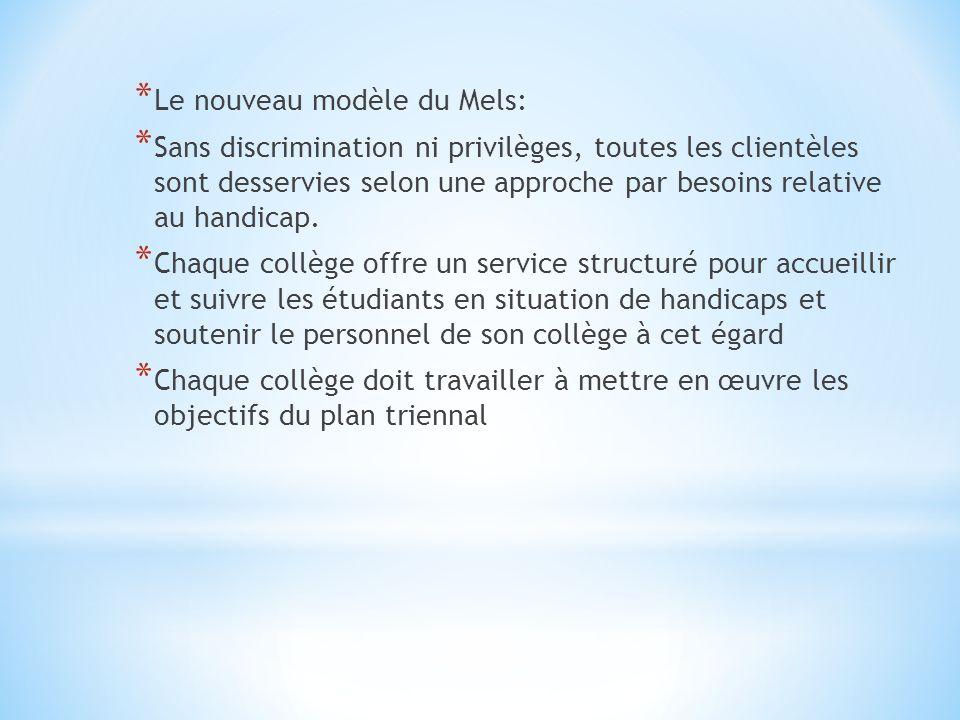 * Le nouveau modèle du Mels: * Sans discrimination ni privilèges, toutes les clientèles sont desservies selon une approche par besoins relative au handicap.