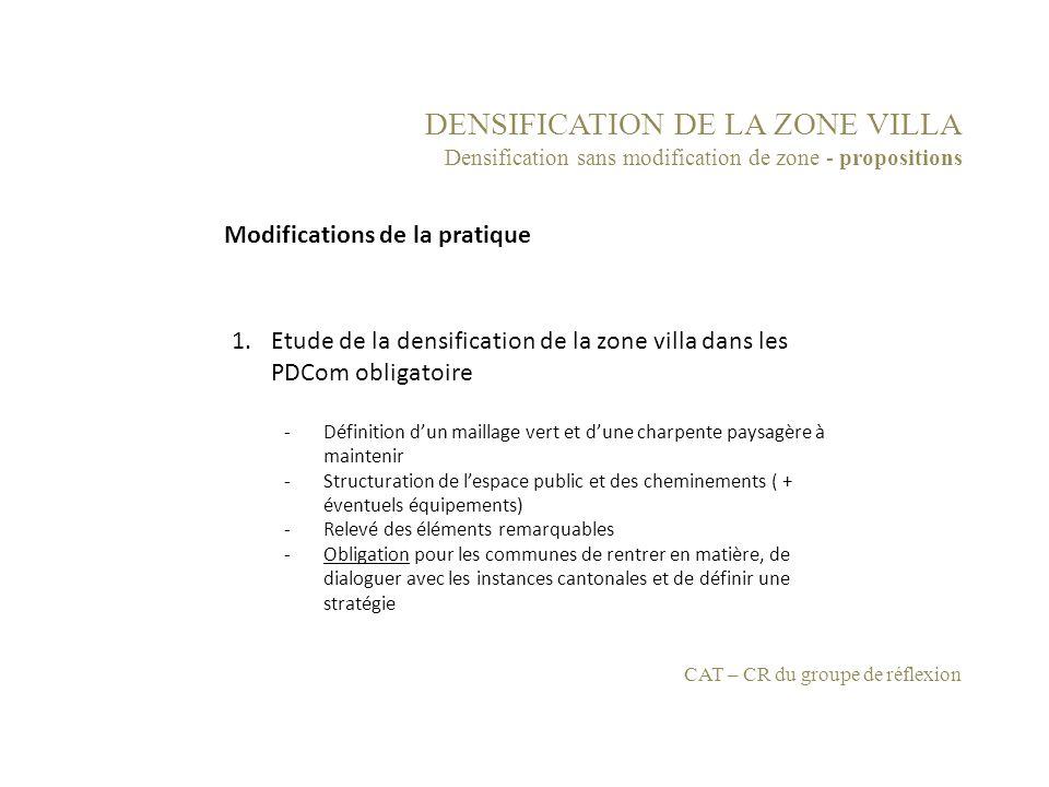 DENSIFICATION DE LA ZONE VILLA Densification sans modification de zone - propositions 1.Etude de la densification de la zone villa dans les PDCom obli