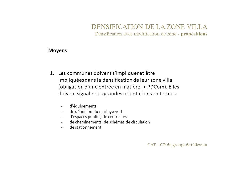 DENSIFICATION DE LA ZONE VILLA Densification avec modification de zone - propositions 1.Les communes doivent simpliquer et être impliquées dans la den