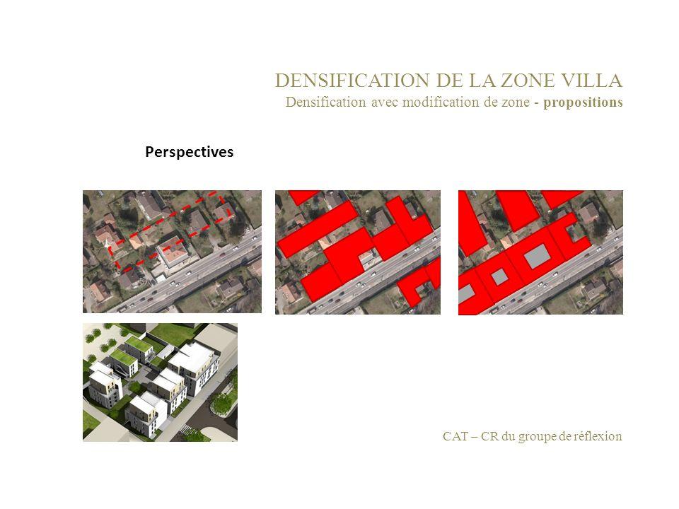 DENSIFICATION DE LA ZONE VILLA Densification avec modification de zone - propositions CAT – CR du groupe de réflexion Perspectives