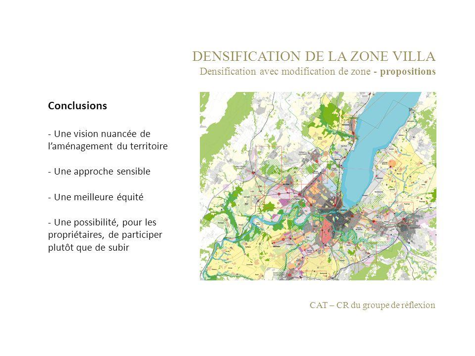 DENSIFICATION DE LA ZONE VILLA Densification avec modification de zone - propositions CAT – CR du groupe de réflexion Conclusions - Une vision nuancée