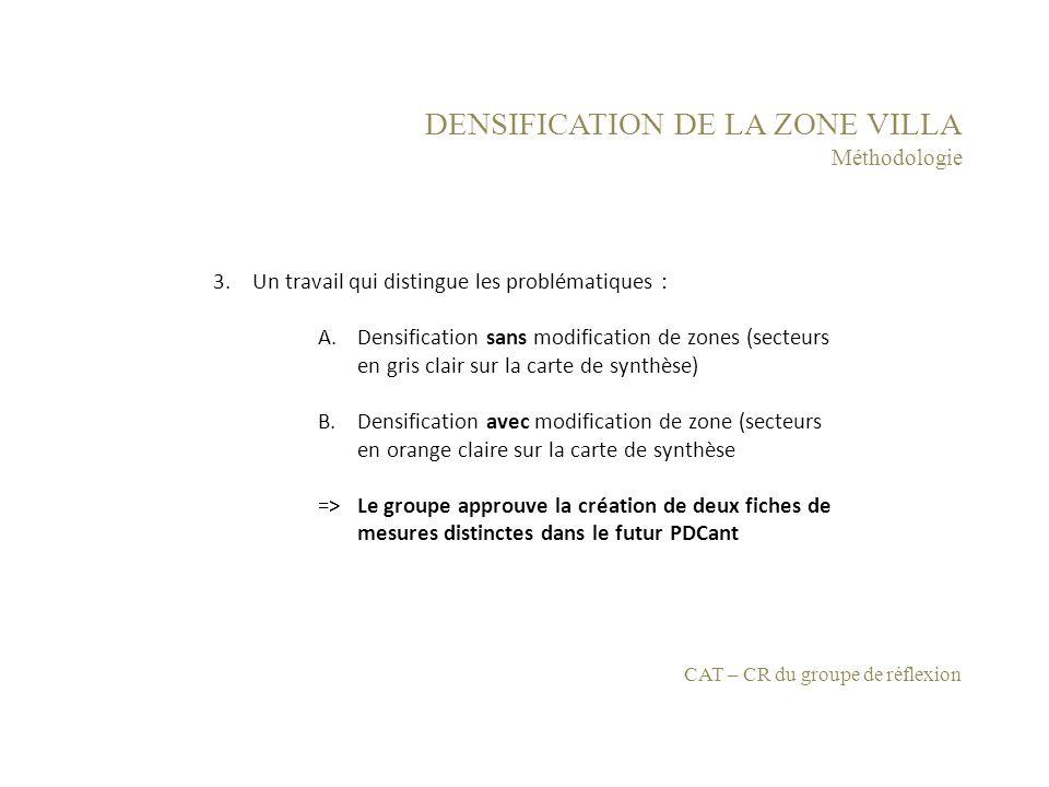 DENSIFICATION DE LA ZONE VILLA Méthodologie 3.Un travail qui distingue les problématiques : A.Densification sans modification de zones (secteurs en gr