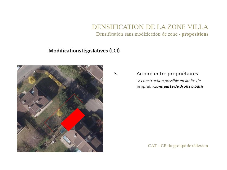 DENSIFICATION DE LA ZONE VILLA Densification sans modification de zone - propositions 3.