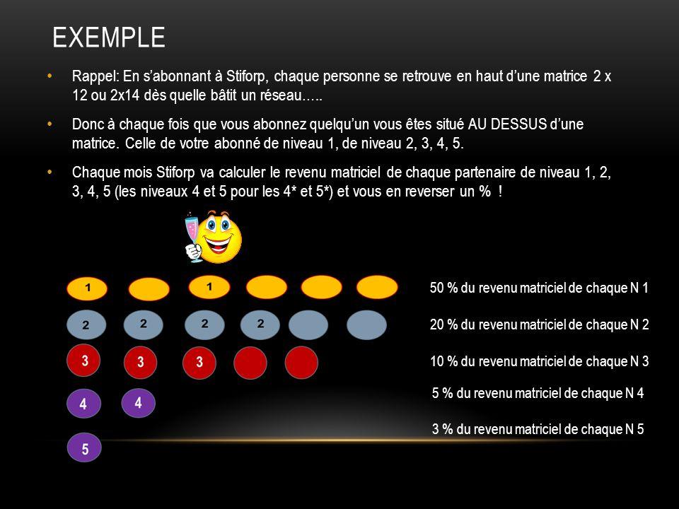 EXEMPLE Rappel: En sabonnant à Stiforp, chaque personne se retrouve en haut dune matrice 2 x 12 ou 2x14 dès quelle bâtit un réseau…..