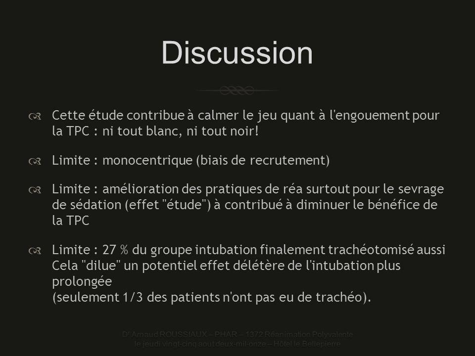 Discussion Cette étude contribue à calmer le jeu quant à l engouement pour la TPC : ni tout blanc, ni tout noir.