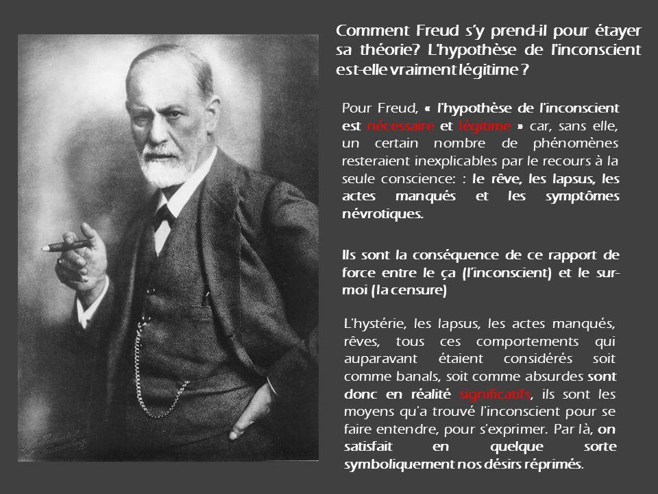 Comment Freud sy prend-il pour étayer sa théorie.