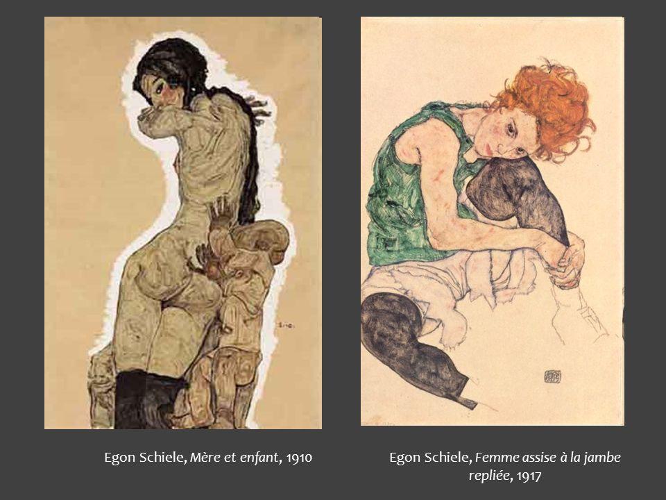 Egon Schiele, Mère et enfant, 1910Egon Schiele, Femme assise à la jambe repliée, 1917