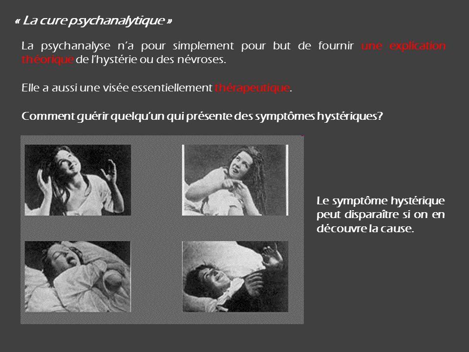 « La cure psychanalytique » La psychanalyse na pour simplement pour but de fournir une explication théorique de lhystérie ou des névroses.