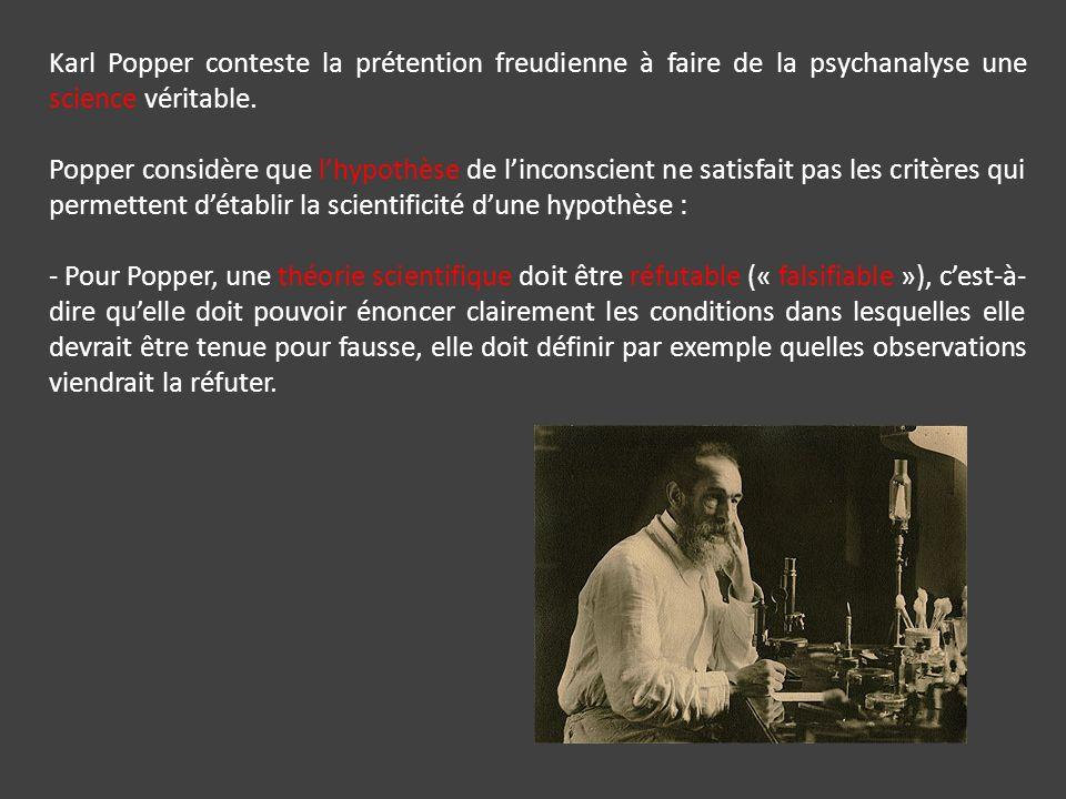 Karl Popper conteste la prétention freudienne à faire de la psychanalyse une science véritable.