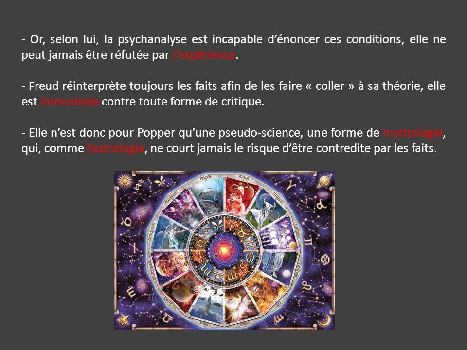 - Or, selon lui, la psychanalyse est incapable dénoncer ces conditions, elle ne peut jamais être réfutée par lexpérience.
