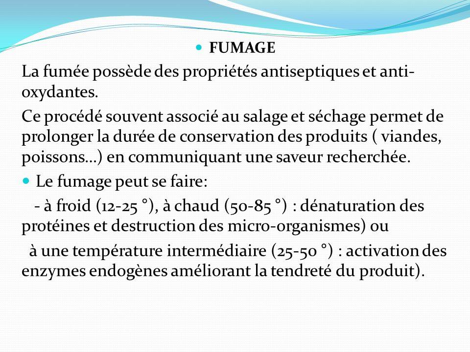 FUMAGE La fumée possède des propriétés antiseptiques et anti- oxydantes. Ce procédé souvent associé au salage et séchage permet de prolonger la durée