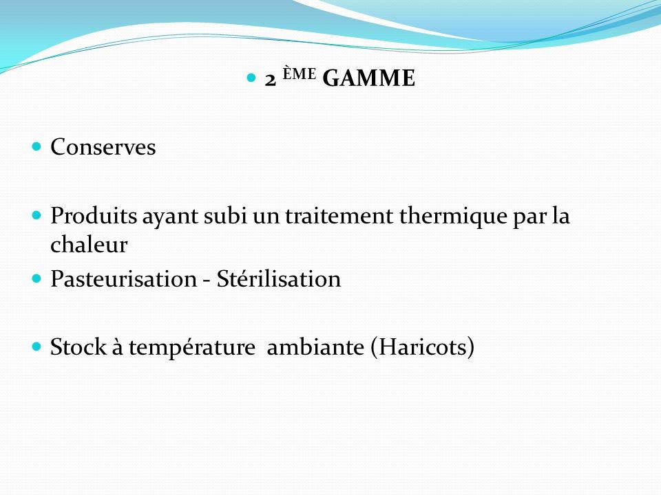 2 ÈME GAMME Conserves Produits ayant subi un traitement thermique par la chaleur Pasteurisation - Stérilisation Stock à température ambiante (Haricots