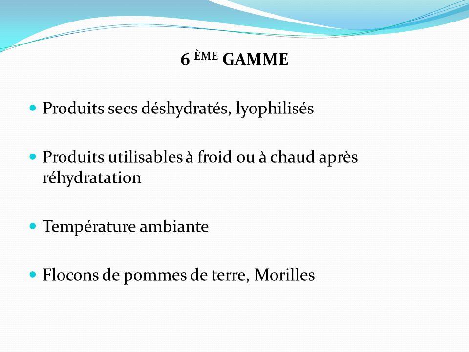 6 ÈME GAMME Produits secs déshydratés, lyophilisés Produits utilisables à froid ou à chaud après réhydratation Température ambiante Flocons de pommes