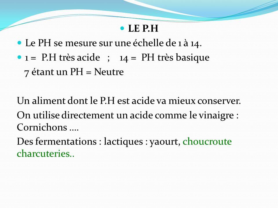 LE P.H Le PH se mesure sur une échelle de 1 à 14. 1 = P.H très acide ; 14 = PH très basique 7 étant un PH = Neutre Un aliment dont le P.H est acide va