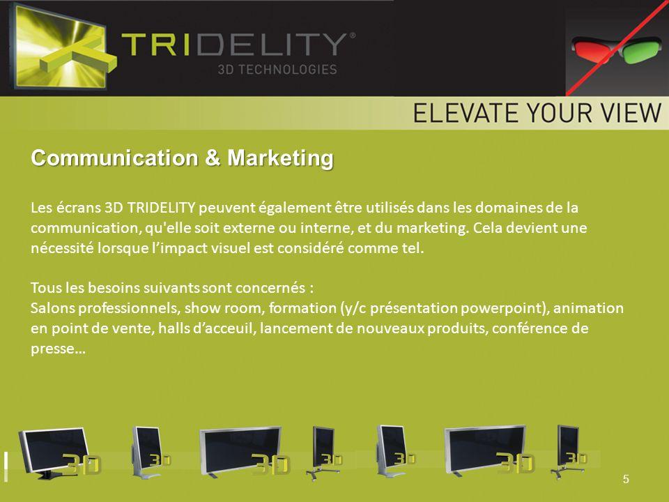 5 Communication & Marketing Les écrans 3D TRIDELITY peuvent également être utilisés dans les domaines de la communication, qu'elle soit externe ou int