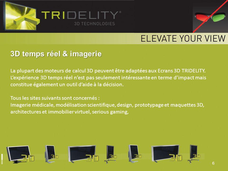6 3D temps réel & imagerie La plupart des moteurs de calcul 3D peuvent être adaptées aux Ecrans 3D TRIDELITY. Lexpérience 3D temps réel nest pas seule