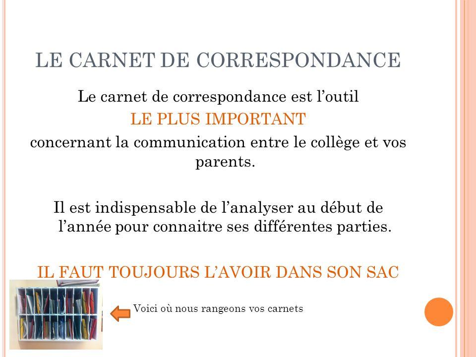 LE CARNET DE CORRESPONDANCE Le carnet de correspondance est loutil LE PLUS IMPORTANT concernant la communication entre le collège et vos parents. Il e