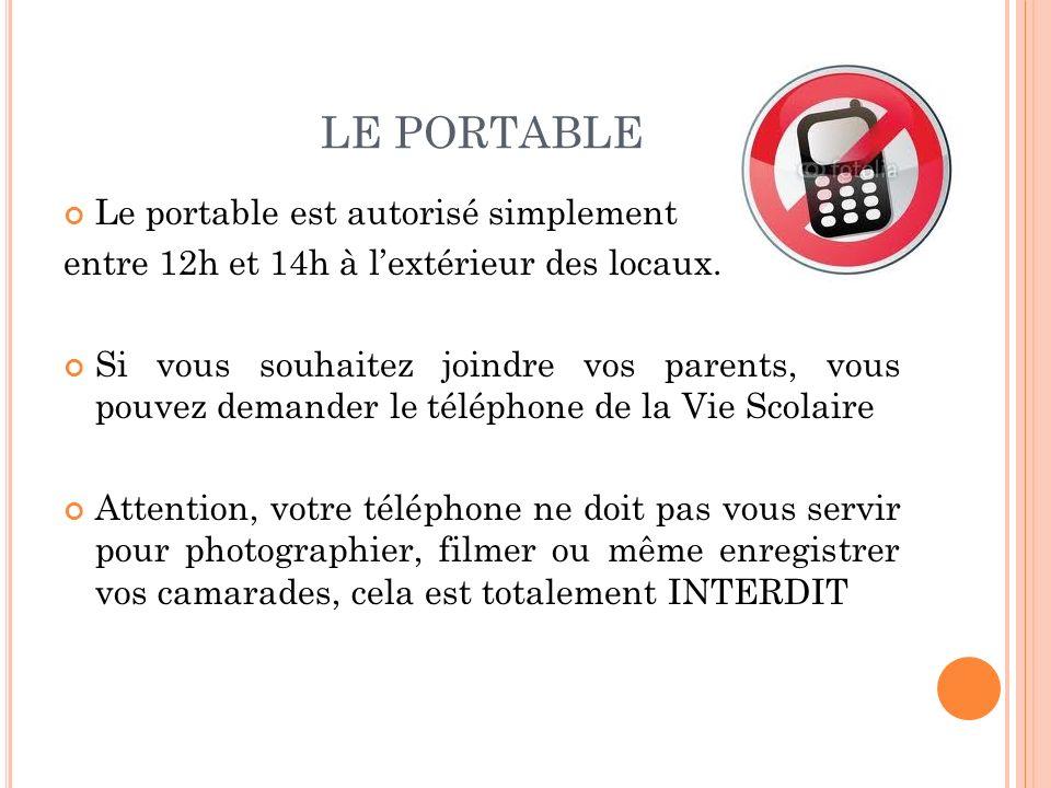 LE PORTABLE Le portable est autorisé simplement entre 12h et 14h à lextérieur des locaux. Si vous souhaitez joindre vos parents, vous pouvez demander