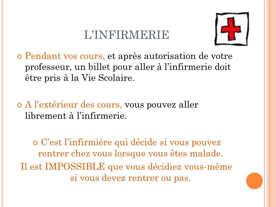 LINFIRMERIE Pendant vos cours, et après autorisation de votre professeur, un billet pour aller à linfirmerie doit être pris à la Vie Scolaire. A lexté