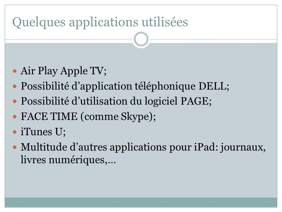 Quelques applications utilisées Air Play Apple TV; Possibilité dapplication téléphonique DELL; Possibilité dutilisation du logiciel PAGE; FACE TIME (c