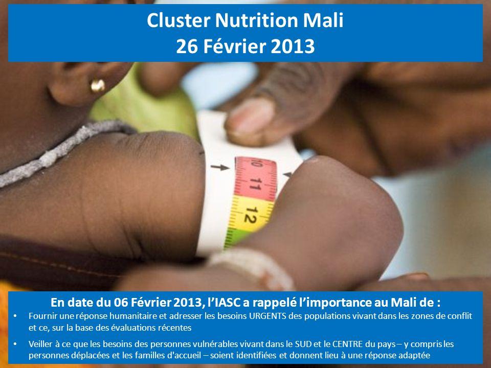 Cluster Nutrition Mali 26 Février 2013 En date du 06 Février 2013, lIASC a rappelé limportance au Mali de : Fournir une réponse humanitaire et adresse