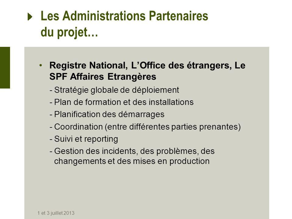 Les Administrations Partenaires du projet… Registre National, LOffice des étrangers, Le SPF Affaires Etrangères -Stratégie globale de déploiement -Pla