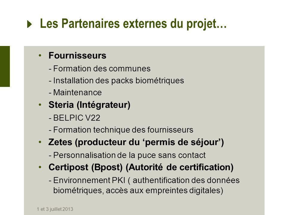Les Partenaires externes du projet… Fournisseurs -Formation des communes -Installation des packs biométriques -Maintenance Steria (Intégrateur) -BELPI