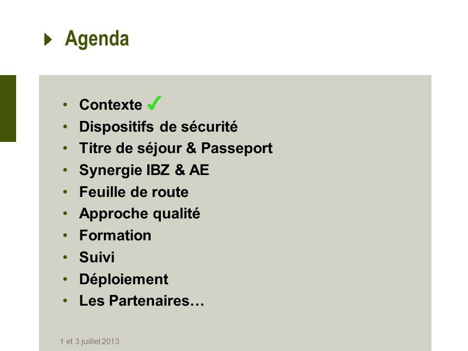 Agenda Contexte Dispositifs de sécurité Titre de séjour & Passeport Synergie IBZ & AE Feuille de route Approche qualité Formation Suivi Déploiement Le