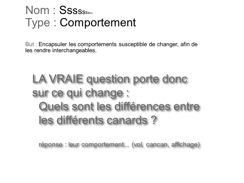 LA VRAIE question porte donc sur ce qui change : Quels sont les différences entre les différents canards ? réponse : leur comportement... (vol, cancan