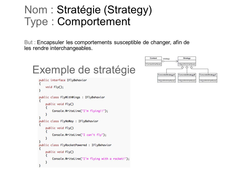 Nom : Stratégie (Strategy) Type : Comportement But : Encapsuler les comportements susceptible de changer, afin de les rendre interchangeables. Exemple