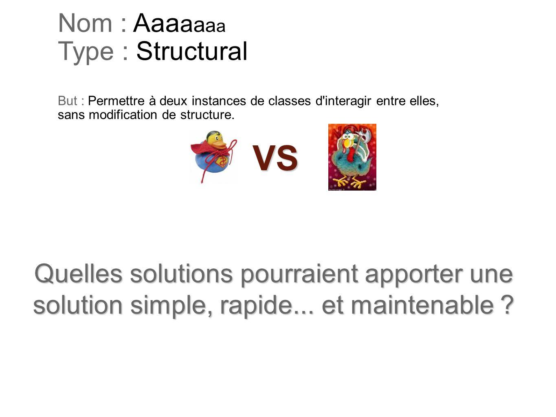 Nom : Aaa a a a a Type : Structural But : Permettre à deux instances de classes d'interagir entre elles, sans modification de structure. Quelles solut