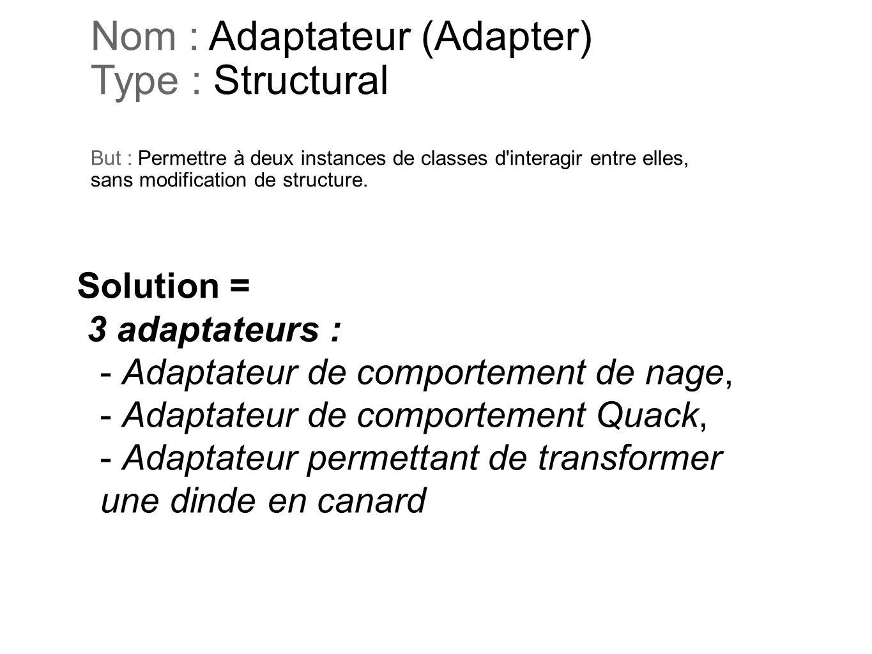 Nom : Adaptateur (Adapter) Type : Structural But : Permettre à deux instances de classes d'interagir entre elles, sans modification de structure. Solu