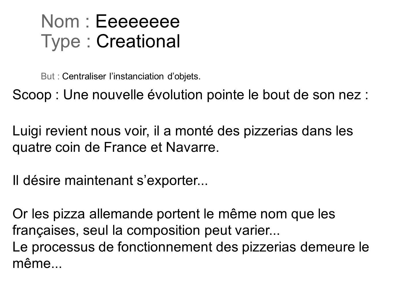Nom : Eeeeeeee Type : Creational But : Centraliser linstanciation dobjets. Luigi revient nous voir, il a monté des pizzerias dans les quatre coin de F